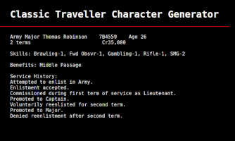 Traveller character generator screenshot