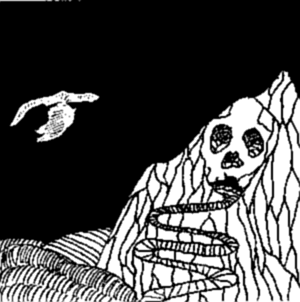 Drawing of a dark night on Skull Mountain